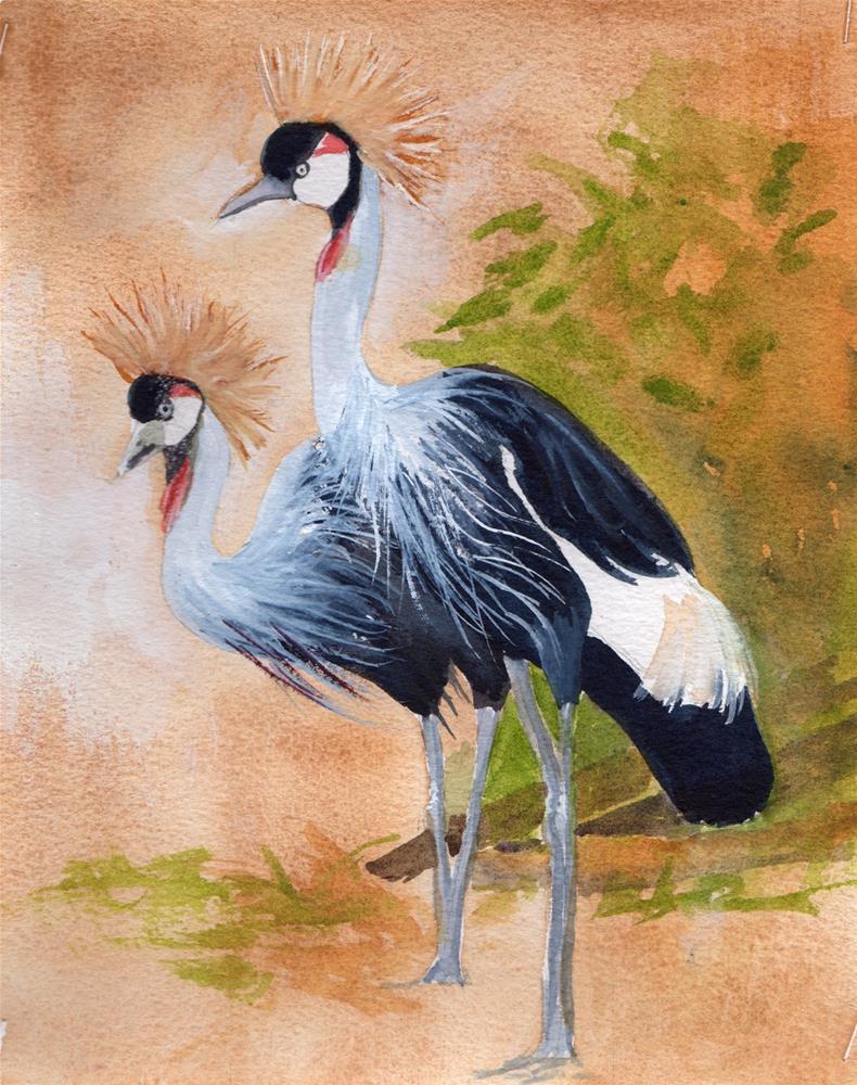 """African Crown Birds"" original fine art by Bunny Griffeth"