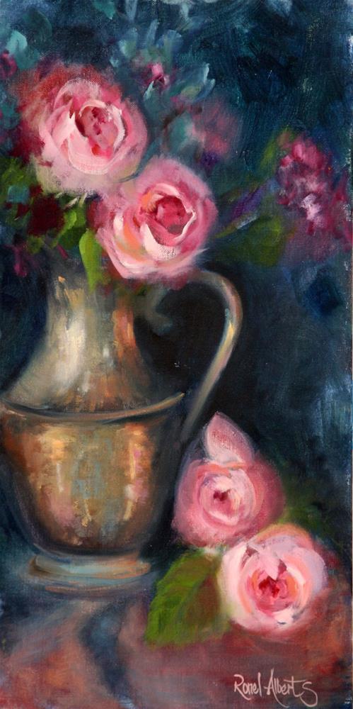 """Copper vase pink roses"" original fine art by Ronel Alberts"