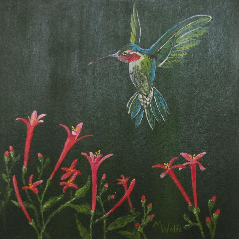"""""""Hummer with Flame Anisacanthu"""" original fine art by Michelle Wolfe"""