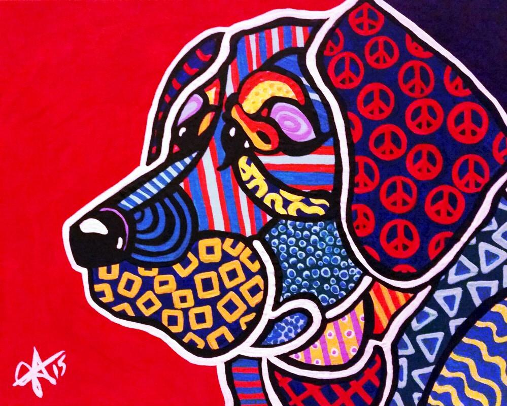 """Peace Keeper Dog Puppy Design"" original fine art by Jackie Carpenter"
