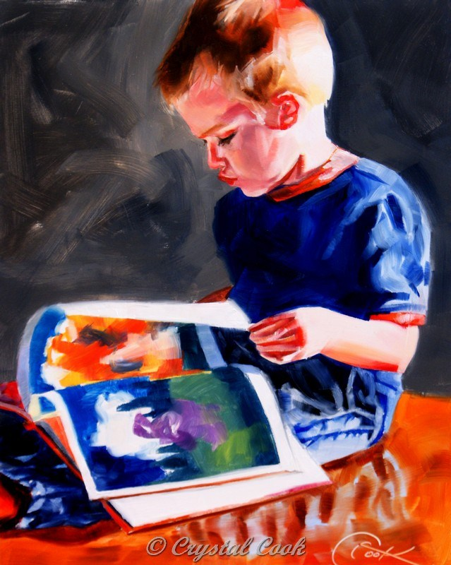 """""""Read Me A Story"""" original fine art by Crystal Cook"""