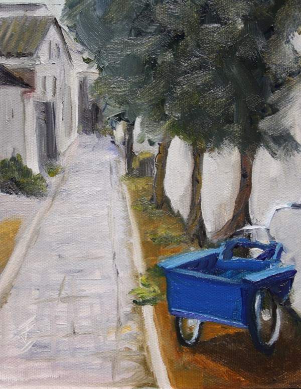 """""""Tricycle Alley - Zhouzhuang"""" original fine art by Jane Frederick"""