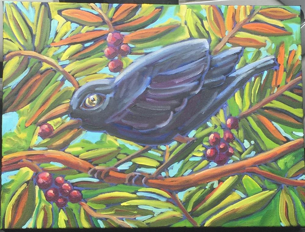 """black bird red berry"" original fine art by Robyn Wellman"