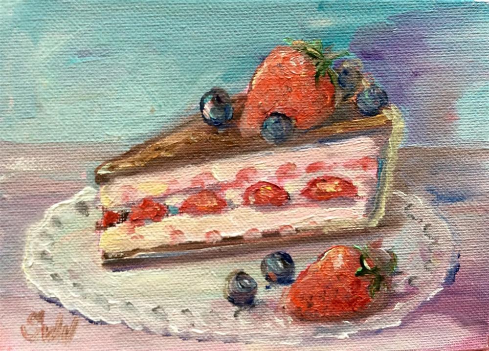 """""""Chocolate strawberry cake"""" original fine art by Sonia von Walter"""