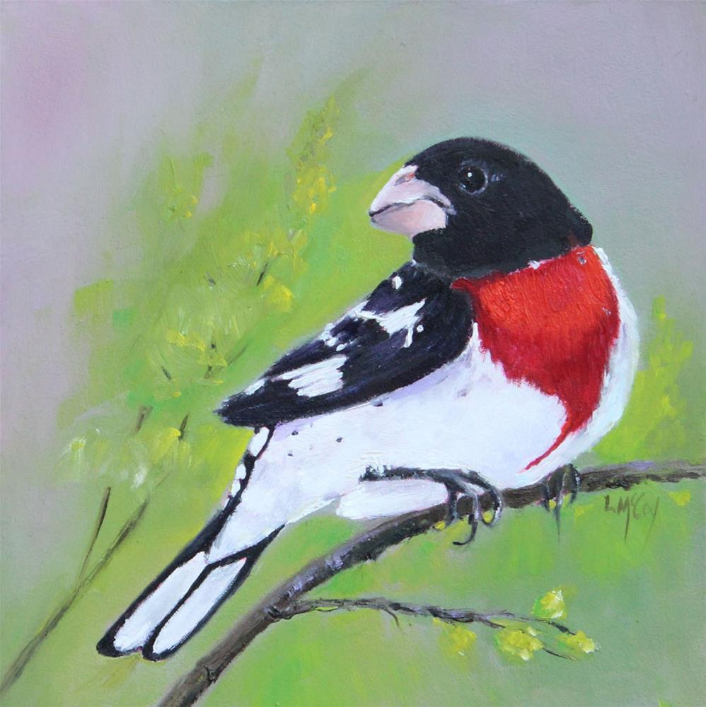 """Rose-breasted Grosbeak"" original fine art by Linda McCoy"
