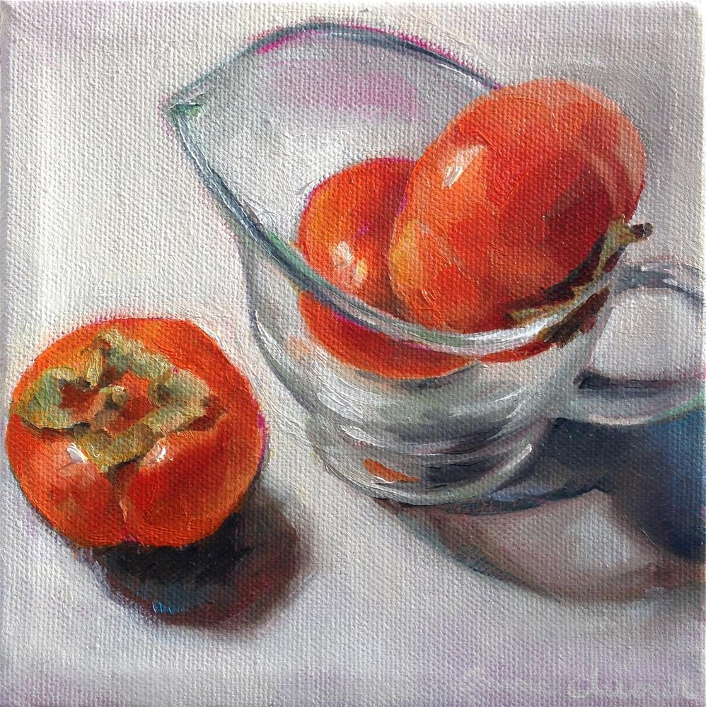 """Persimmon Hooky"" original fine art by Anne Ducrot"
