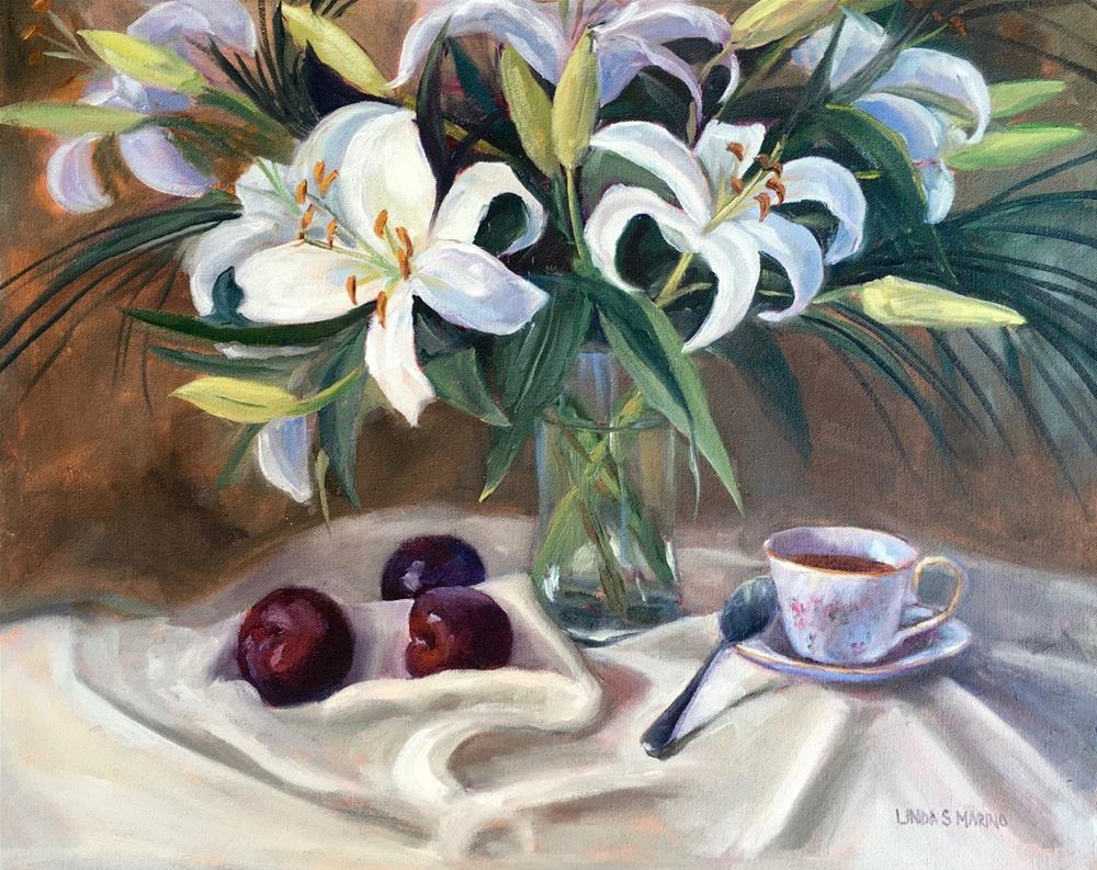 """""""Lilies and Plums"""" original fine art by Linda Marino"""