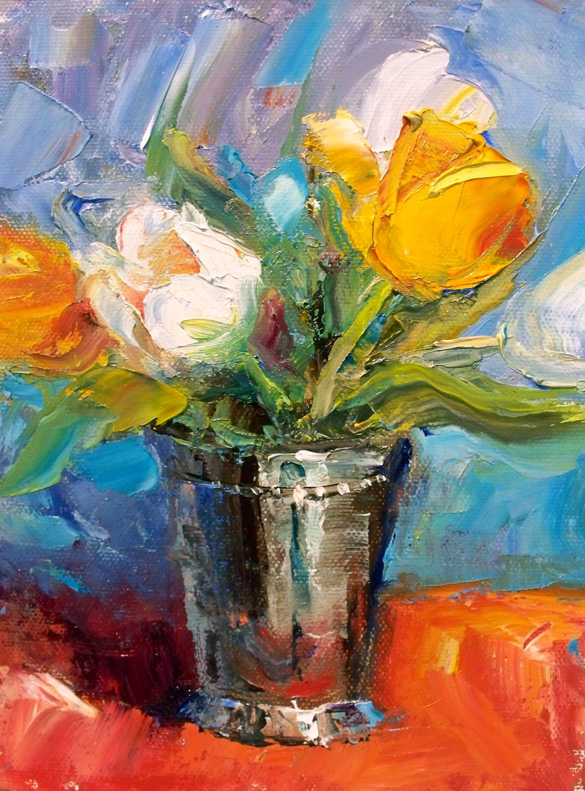 """""""Tulips in Silver"""" original fine art by Julie Ford Oliver"""