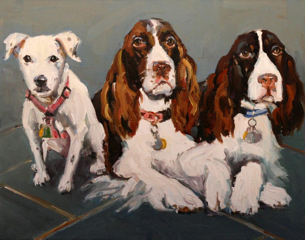 """meg, piper and mason"" original fine art by Carol Carmichael"