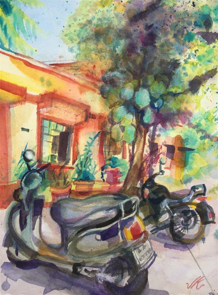 """Scooter, Motorcycle and Jackfruit"" original fine art by Jean Krueger"