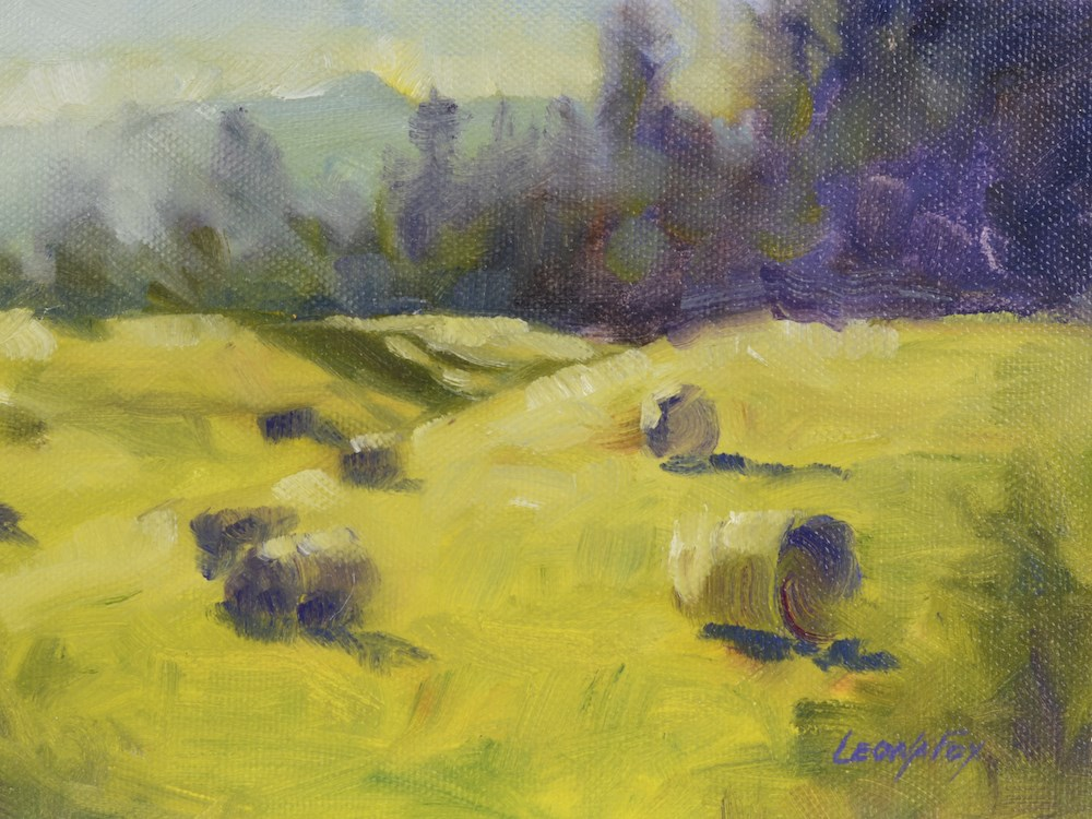 """Summer Hay Bales 1"" original fine art by Leona Fox"