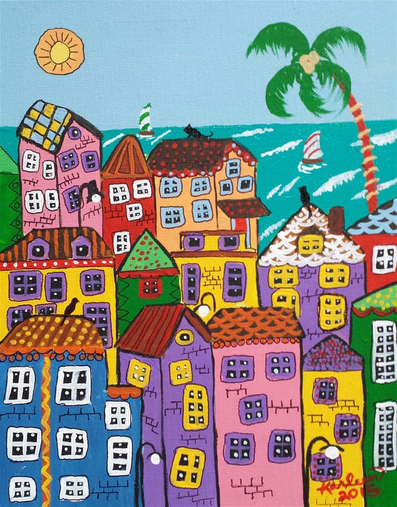 """Old Coastal Village"" original fine art by Karleen Kareem"