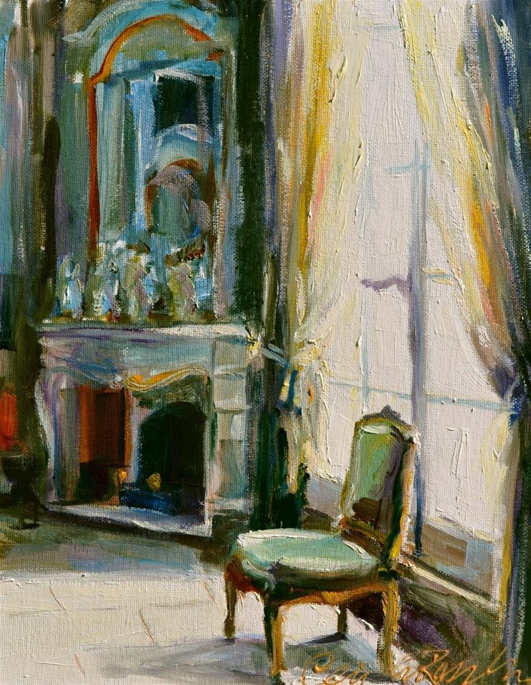 """CHAISE VERTE"" original fine art by Cecilia Rosslee"