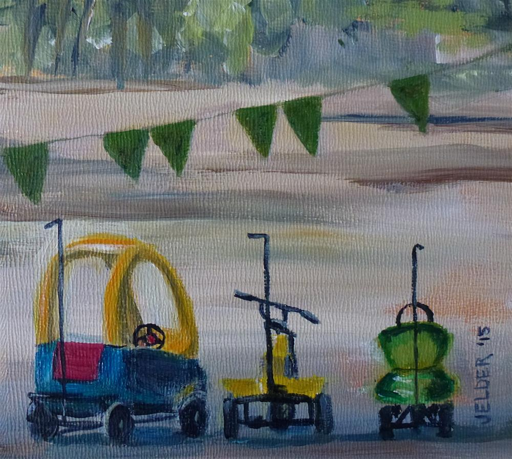 """""""Kiddie Cars, Paris No. 83"""" original fine art by Judith Elder"""