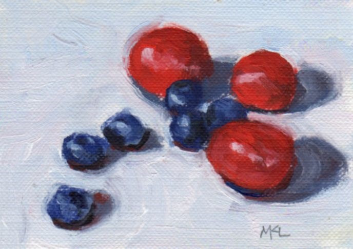 """Blueberries and Grapes"" original fine art by Marlene Lee"