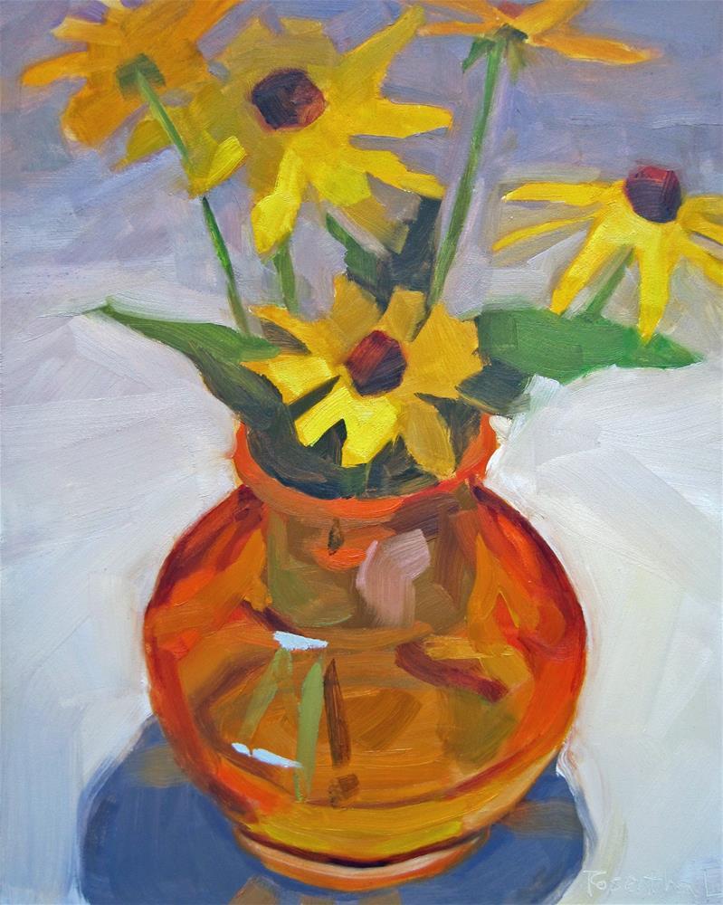 """""""Amber Vase and Black-Eye Susans"""" original fine art by Robin Rosenthal"""