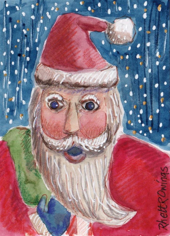 """Santa 2 ACEO"" original fine art by Rhett Regina Owings"
