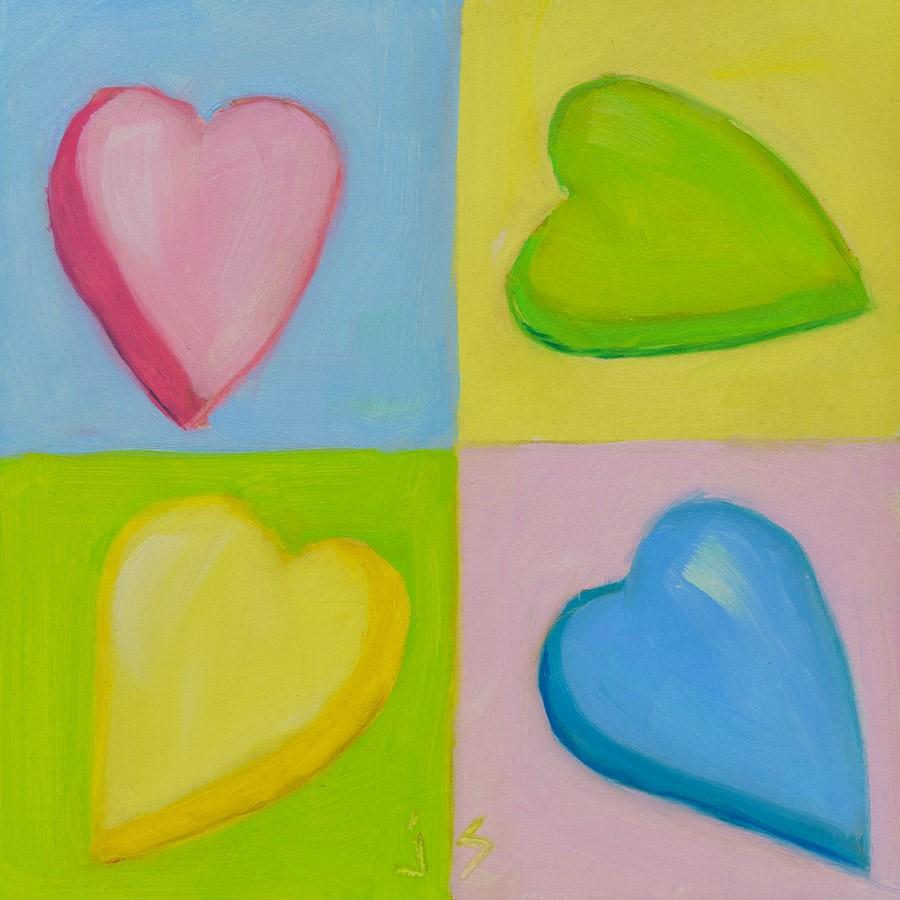 """""""Four Hearts"""" original fine art by Johnna Schelling"""