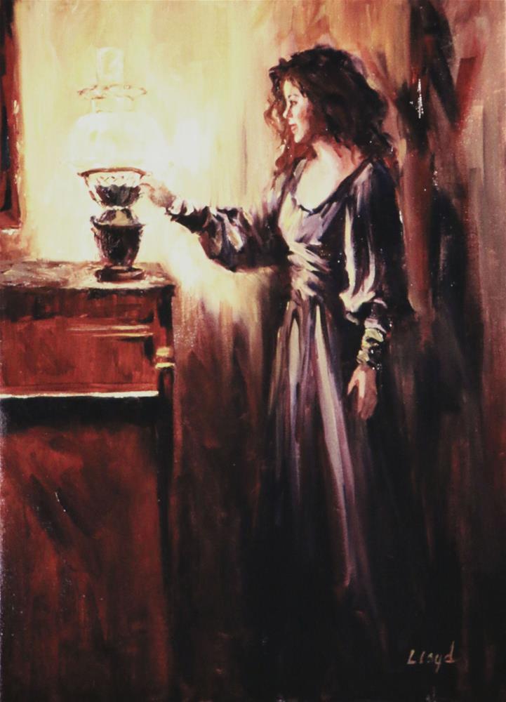 """Jenny with Hurricane Lamp"" original fine art by Diane Lloyd"