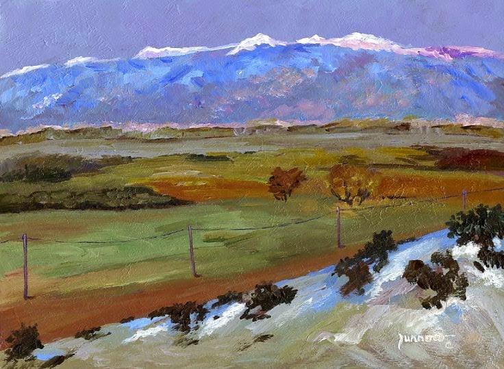 """ORIGINAL LANDSCAPE PAINTING - ROAD TO THE SNOW CAPS"" original fine art by Sue Furrow"