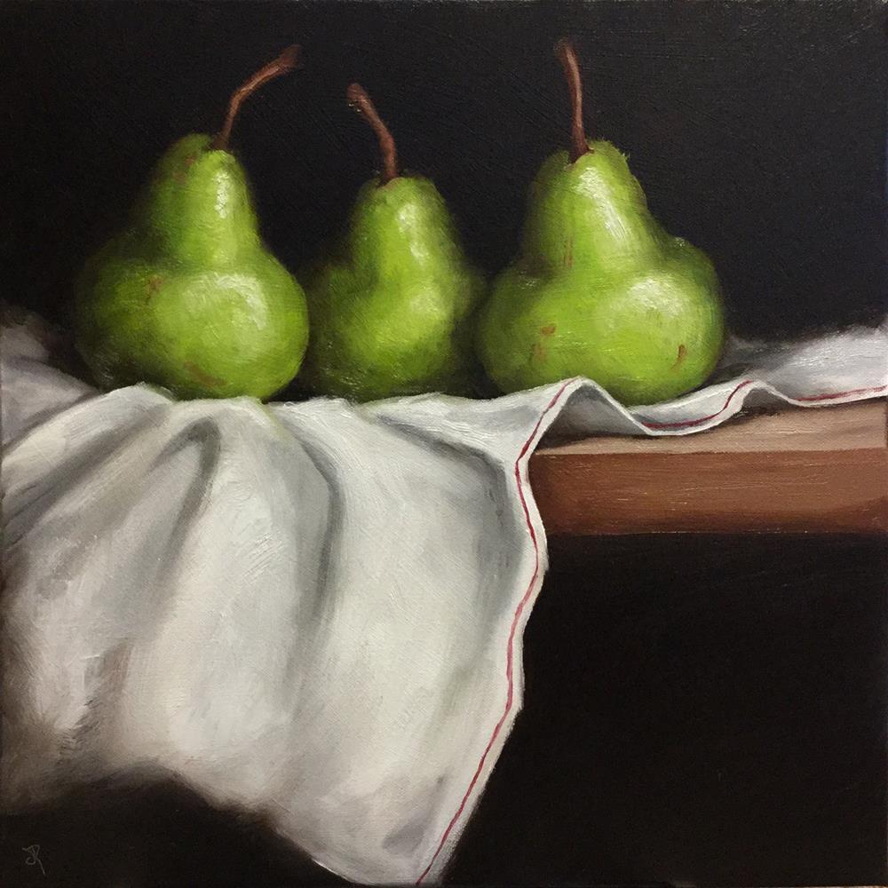 """Pears On cloth"" original fine art by Jane Palmer"