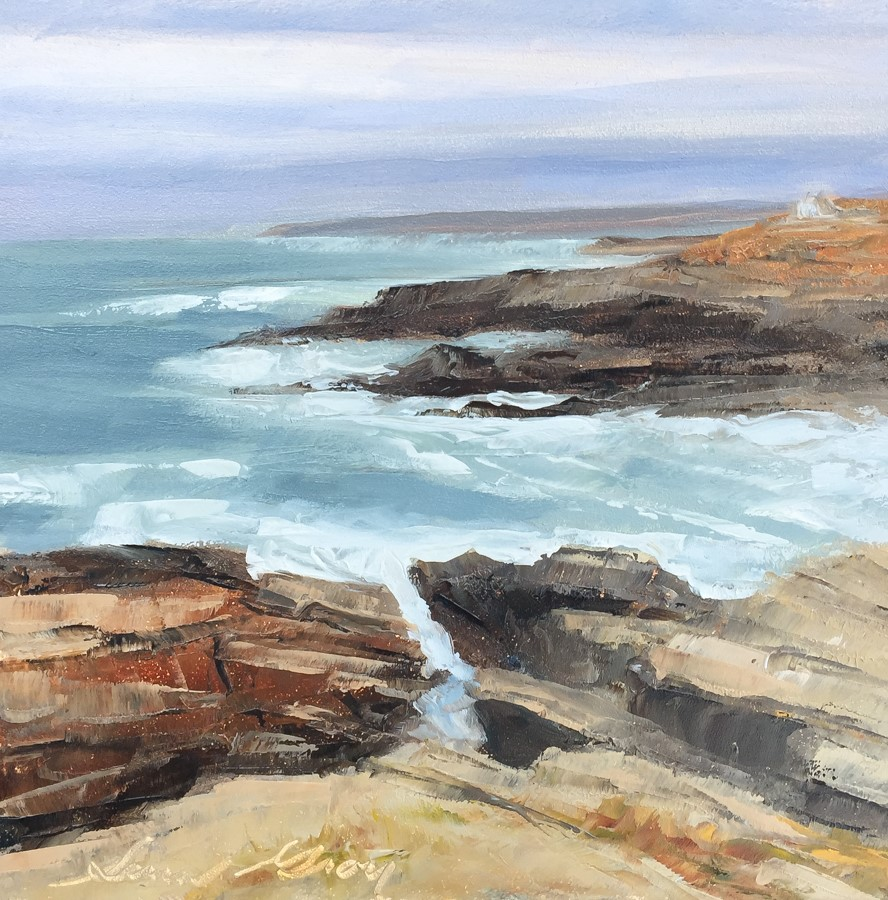 """#174 - Looking South from Portland Headlight"" original fine art by Sara Gray"