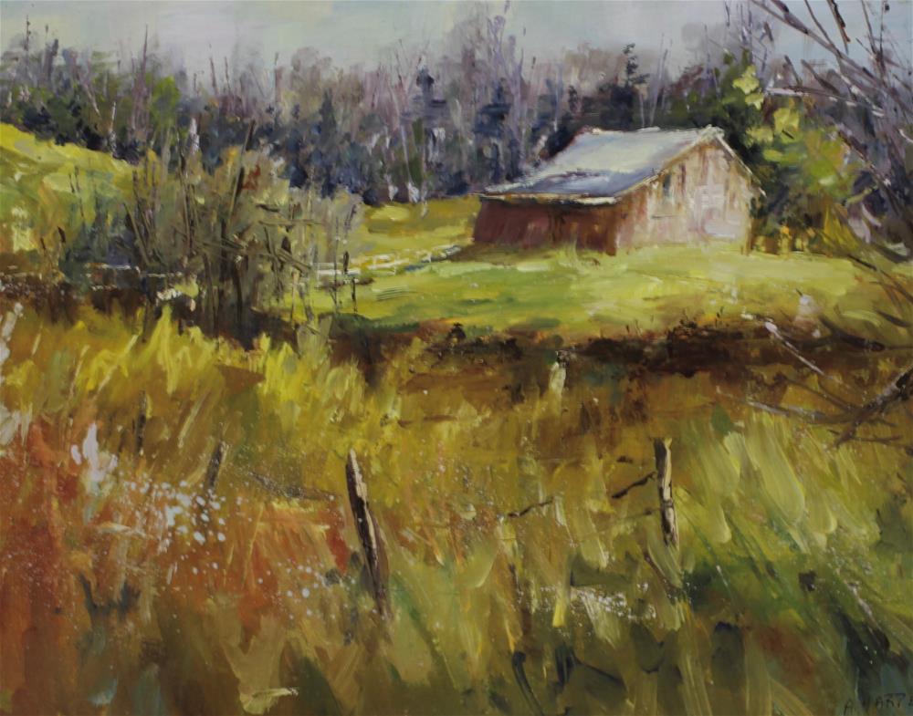 """Indiana barn landscape country meadow"" original fine art by Alice Harpel"