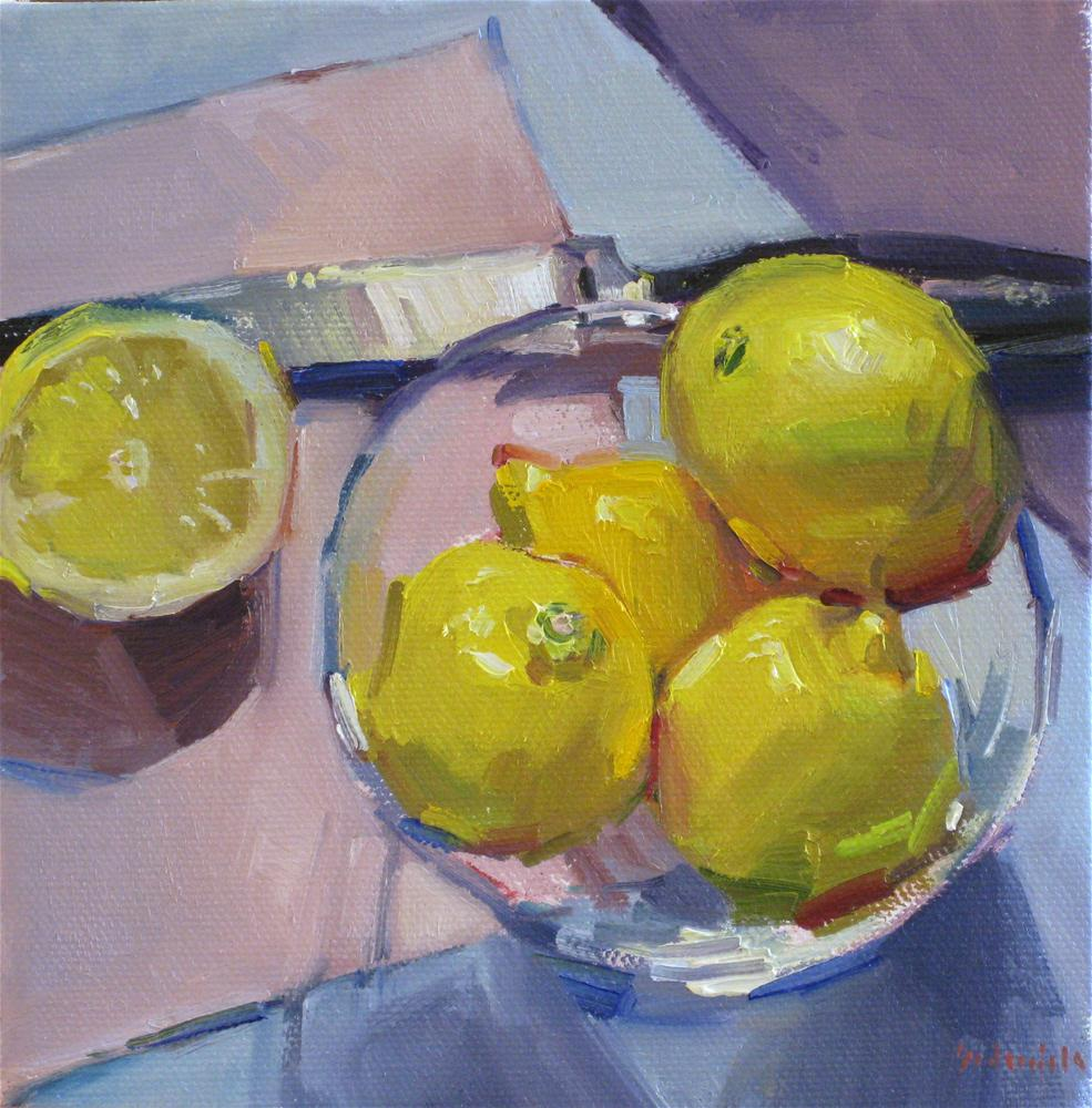 """Zest for Life Lemon art painting kitchen fruit bowl with knife yellow blue"" original fine art by Sarah Sedwick"