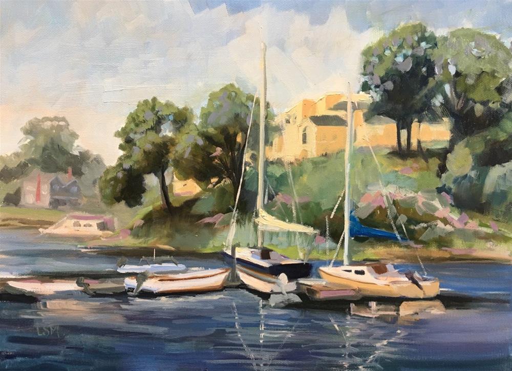 """Hazy Sumer Day along the Branford River"" original fine art by Linda Marino"