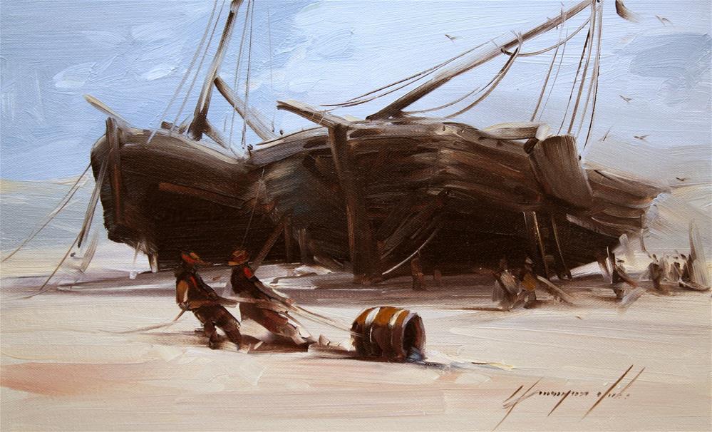 """FISHER MENS OIL PAINTING ON CANVAS HANDMADE FINE ART"" original fine art by V Y"