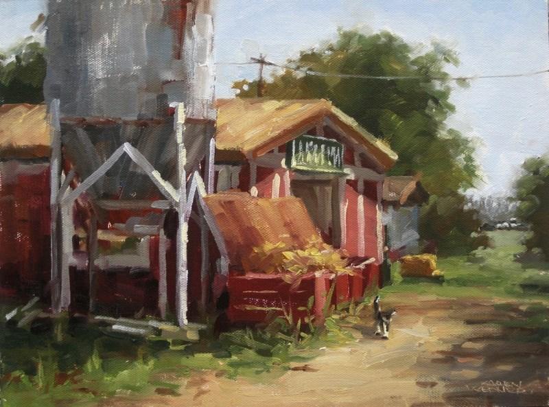 """""""Farm Cat"""" original fine art by Karen Werner"""