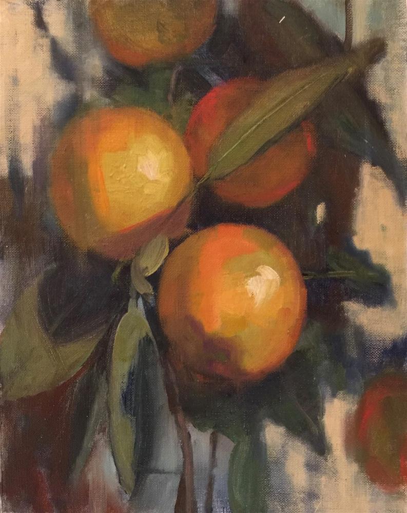 """""""Les Mandarins, 9x12, Painting in a Secret Garden"""" original fine art by Ann Feldman"""