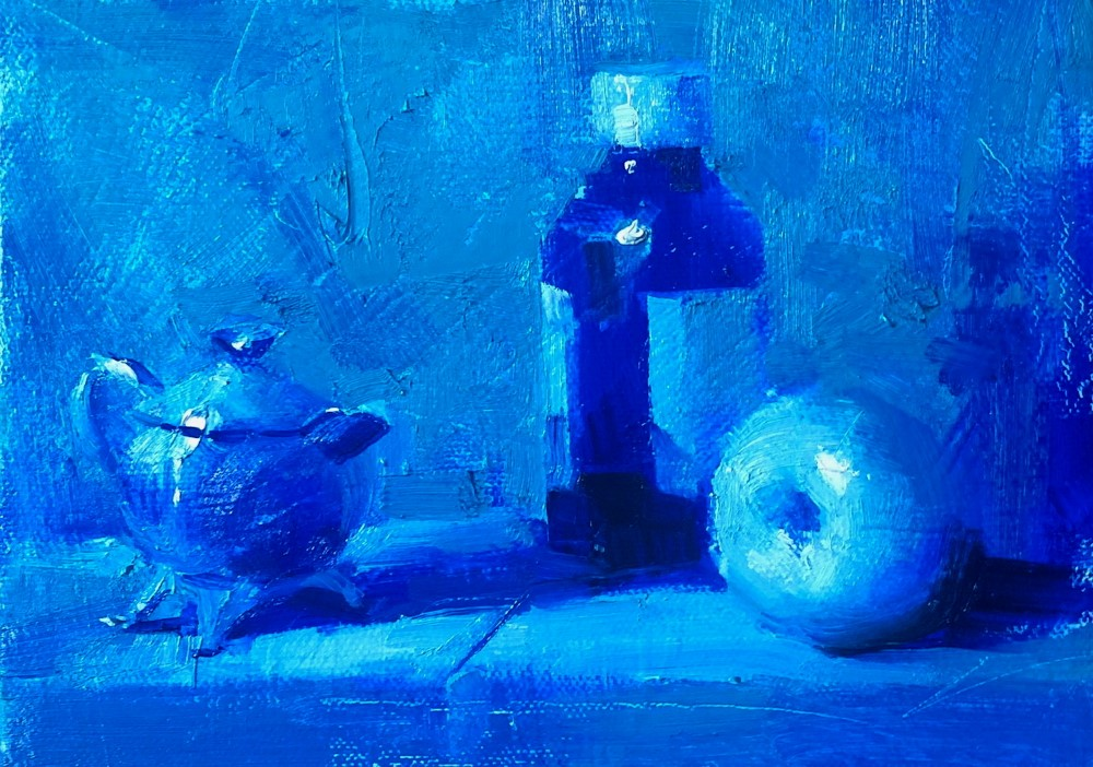 """Still life in turquoise study 042120"" original fine art by Qiang Huang"