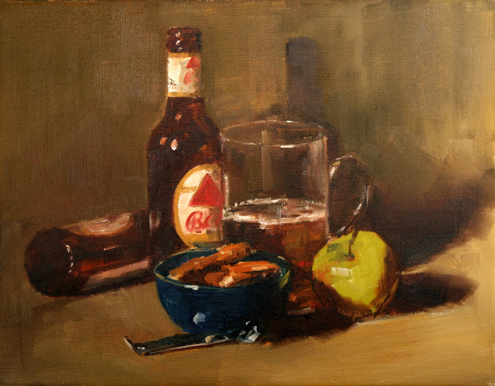 """Beer and Pretzels"" original fine art by Carol Carmichael"