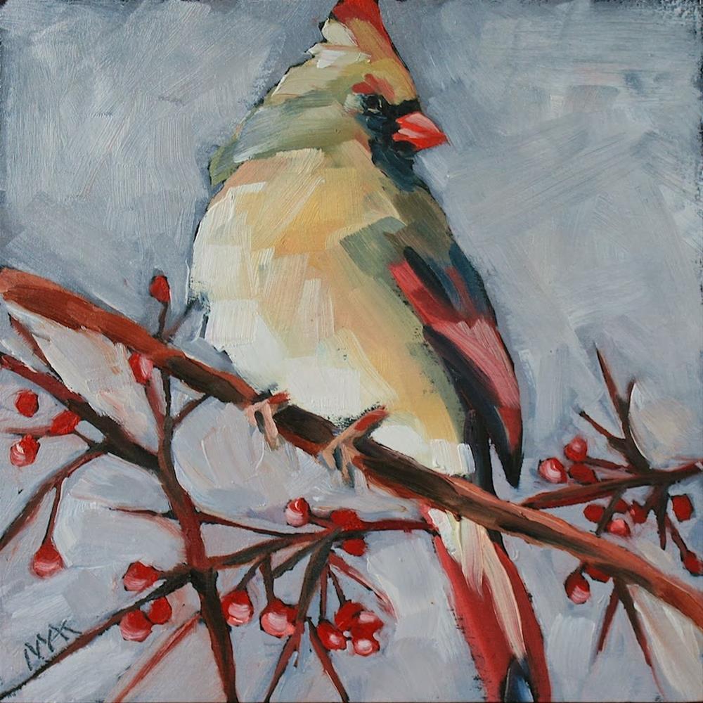 """Lady Cardinal"" original fine art by Mary Anne Cary"
