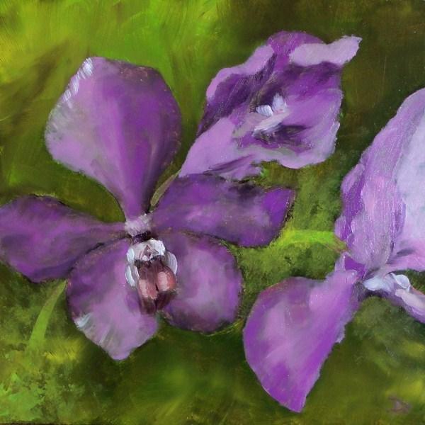 """Purple Heart Orchids I 6x6"" original fine art by Dalan Wells"
