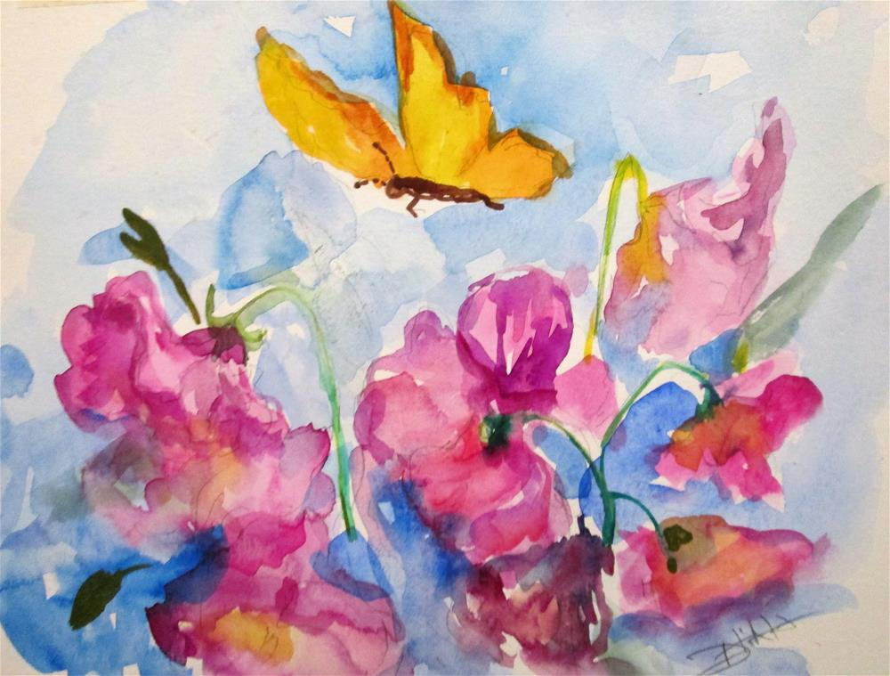"""""""Butterfly and Pansies"""" original fine art by Delilah Smith"""