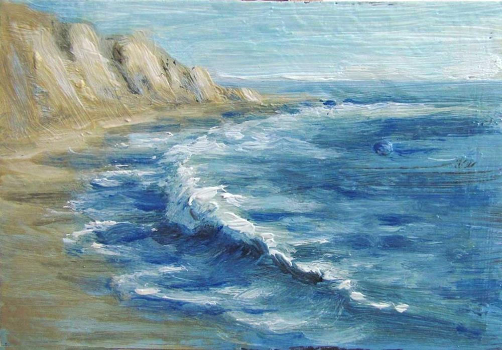 """Seascape Miniature trading-card-size"" original fine art by Kim Victoria"