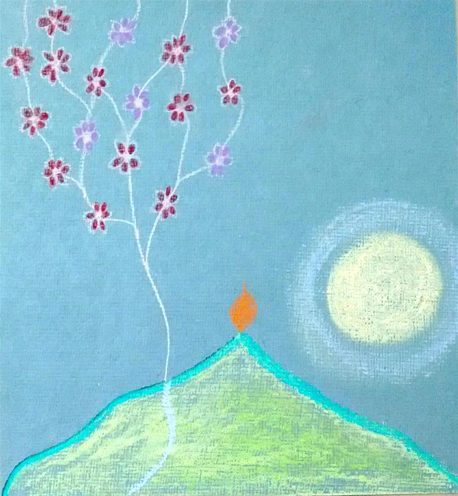 """Flame on the Mountain-Way to Heaven"" original fine art by Adéla Svobodová"