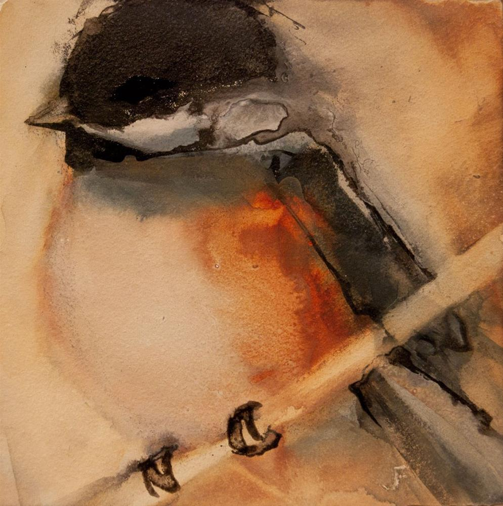 """Perched Chickadee 1"" original fine art by Jani Freimann"