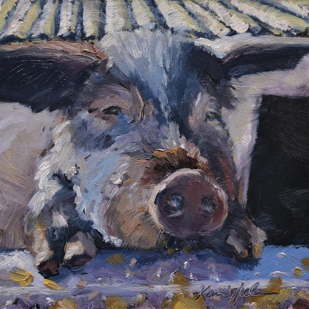 """""""This Little Piggy"""" original fine art by Karen Weber"""