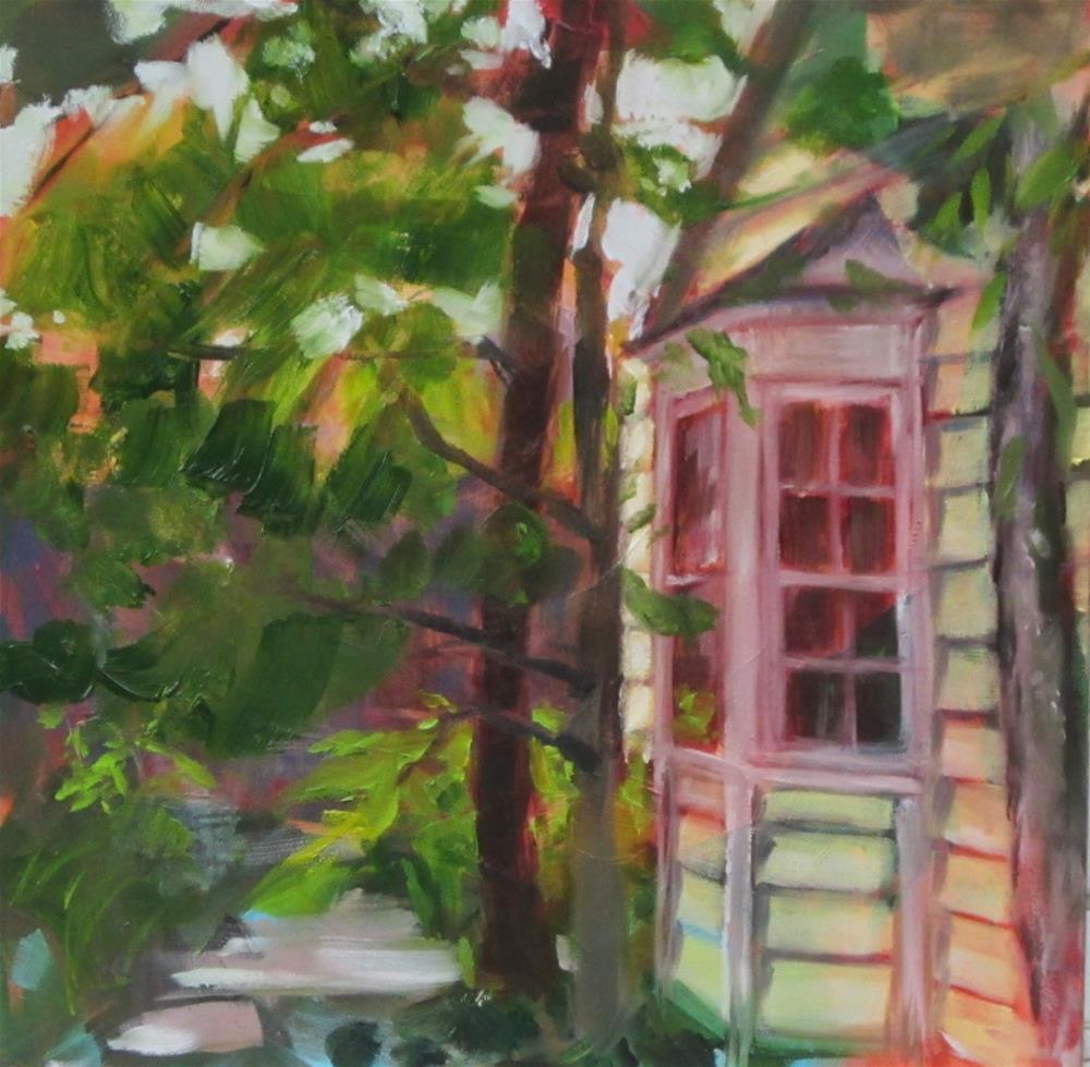 """Backyard rainy plein air"" original fine art by Sandy Haynes"