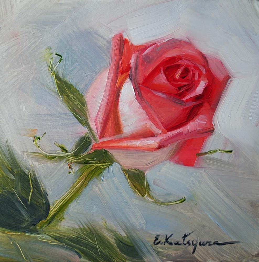 """Pink Rose"" original fine art by Elena Katsyura"