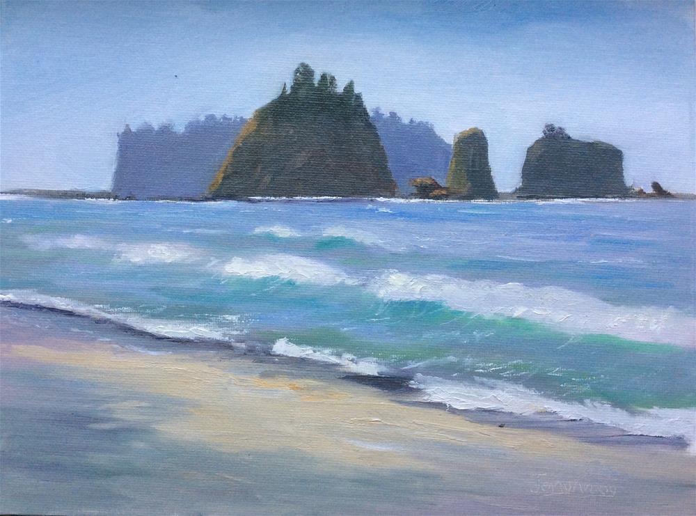 """Gentle Ocean Sea Stacks"" original fine art by Jenny Kinberg"