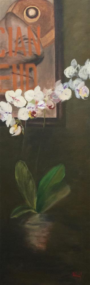 """""""Lucian Freud with Orchid II"""" original fine art by Stephanie Drawdy"""