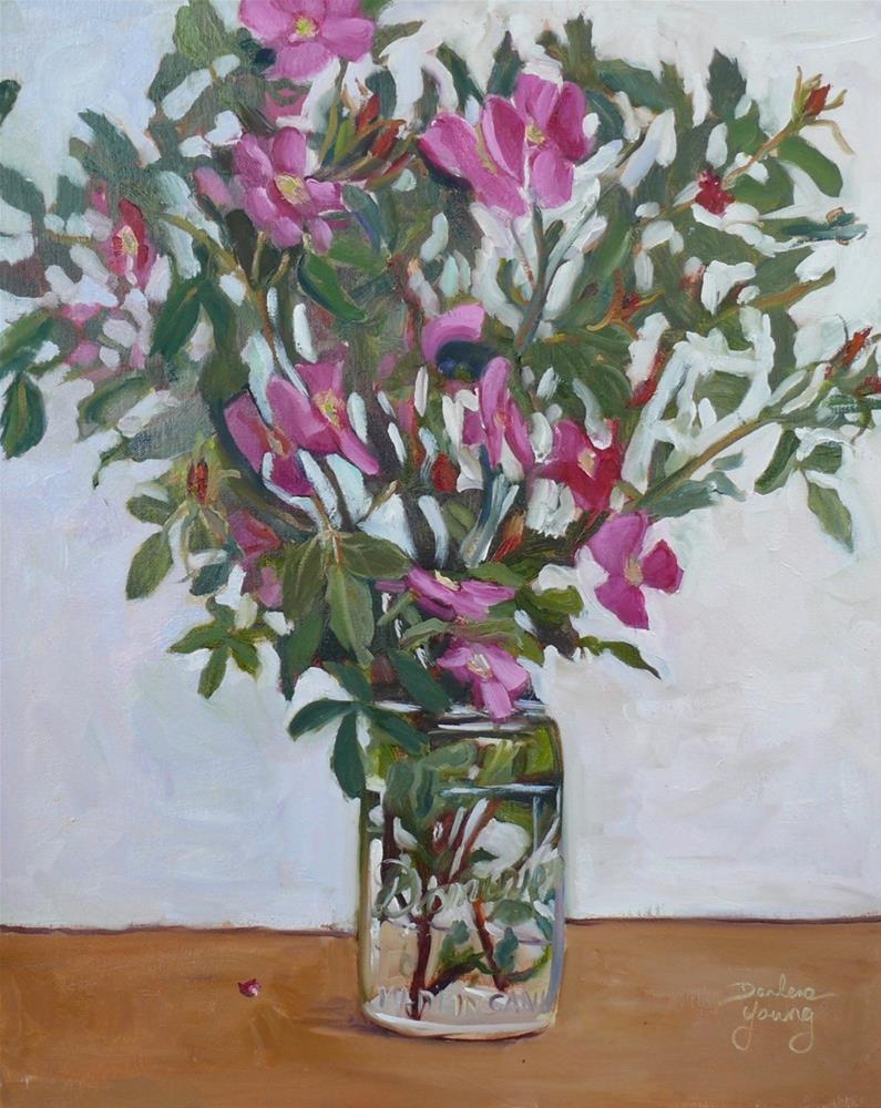 """Wild Roses in Mason Jar"" original fine art by Darlene Young"