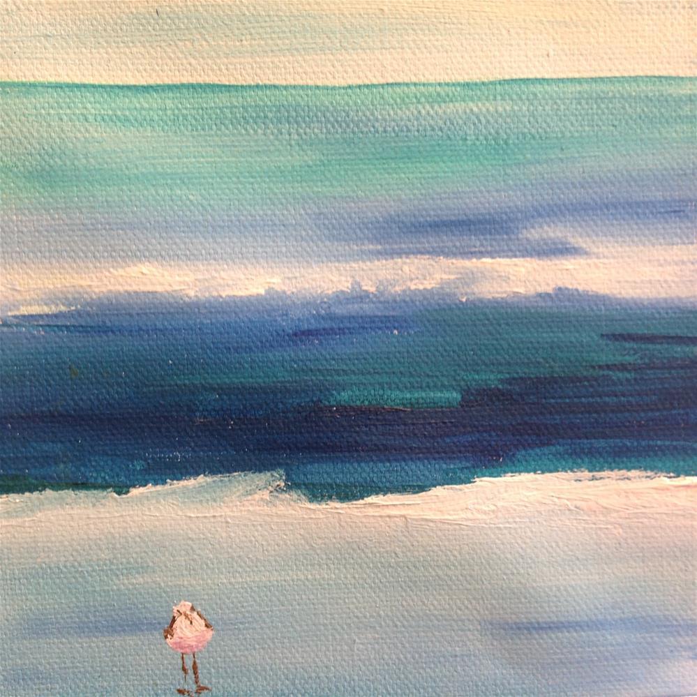 """The Lone Beach Bird"" original fine art by Rose Brenner"