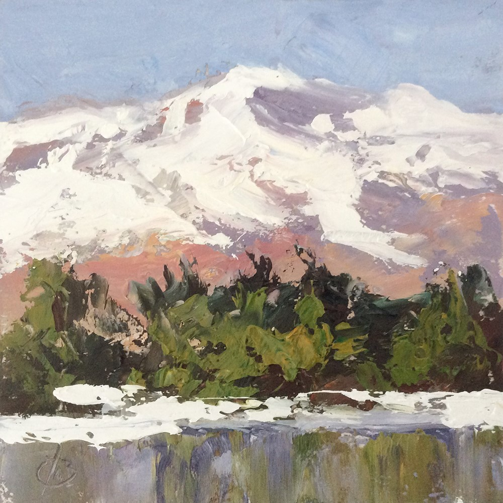"""""""SNOW CAPPED MOUNTAINS"""" original fine art by Tom Brown"""