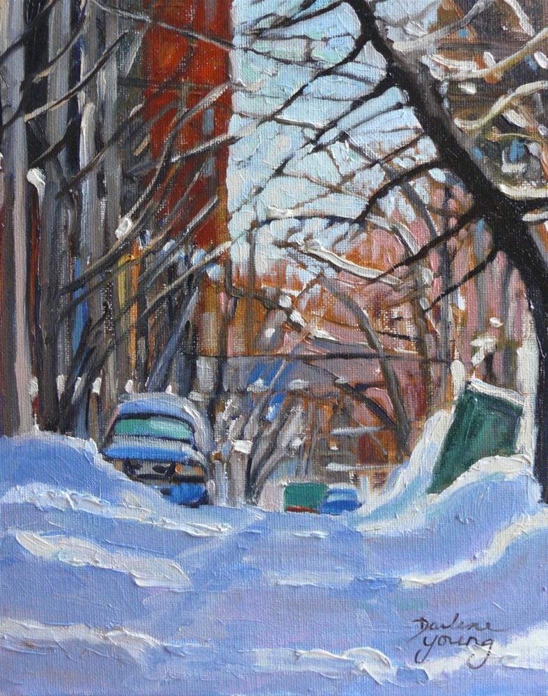 """""""901 Montreal Winter Scene, Lane, oil on board 8x10"""" original fine art by Darlene Young"""