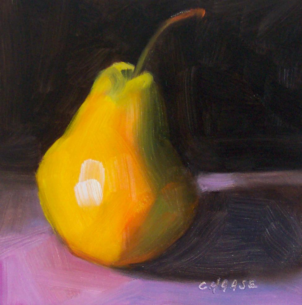 """Pear on Purple"" original fine art by Cindy Haase"